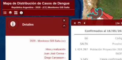 Mapa de distribución de casos de Dengue