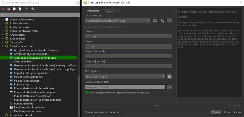 Como crear una capa de puntos a partir de una tabla (de Excel a QGIS 3.X)